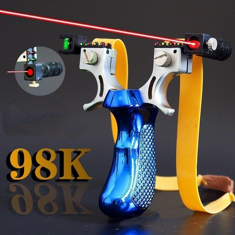 98K New Style Big Power High Precision New Outdoor Hunting Slingshot Laser Aiming Slingshot Using Flat Rubber Band