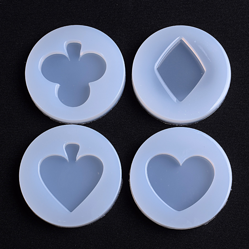 Playing Card Suit Mold Club Suit Silicone Mould Alice In Wonderland Decoden Rhombus Clear Mold For UV Resin Epoxy Resin Mould
