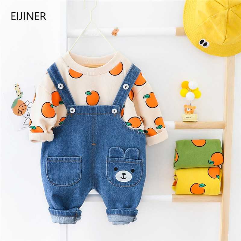2020 new children\'s clothing fruit pattern denim bib suit baby boy suit spring and autumn jeans suitable for age 1-3 year
