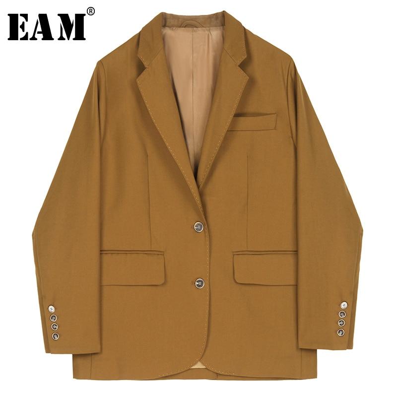 [EAM]  Women Brown Brief Temperament Blazer New Lapel Long Sleeve Loose Fit  Jacket Fashion Tide Spring Autumn 2020 1R229