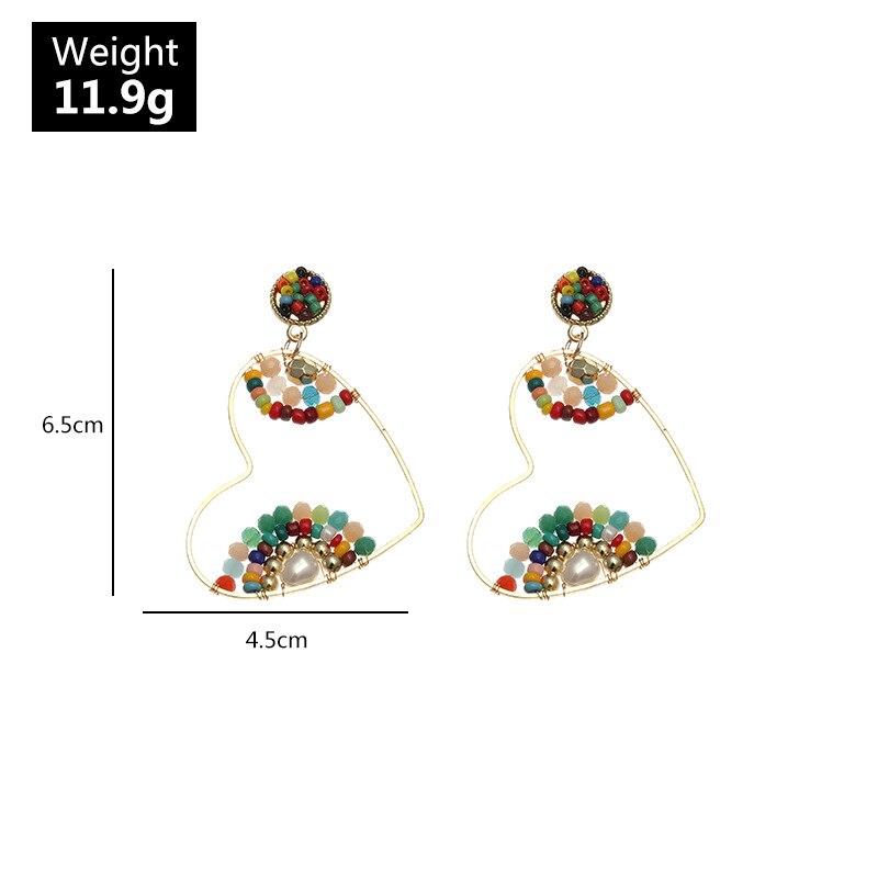 New Bohemia color rice bead earrings temperament heart earrings