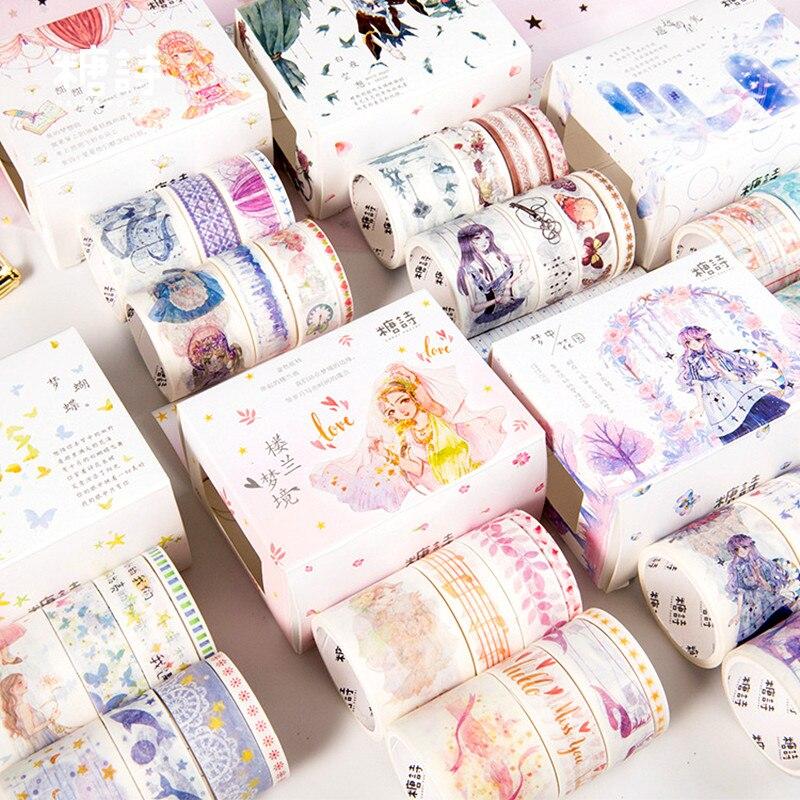 6-8pcs/set Whashi Tape Kawaii Masking Tape Fantasy Cute Tape DIY Scrapbooking Bullet Journal Book Decoration Stationery Supplies