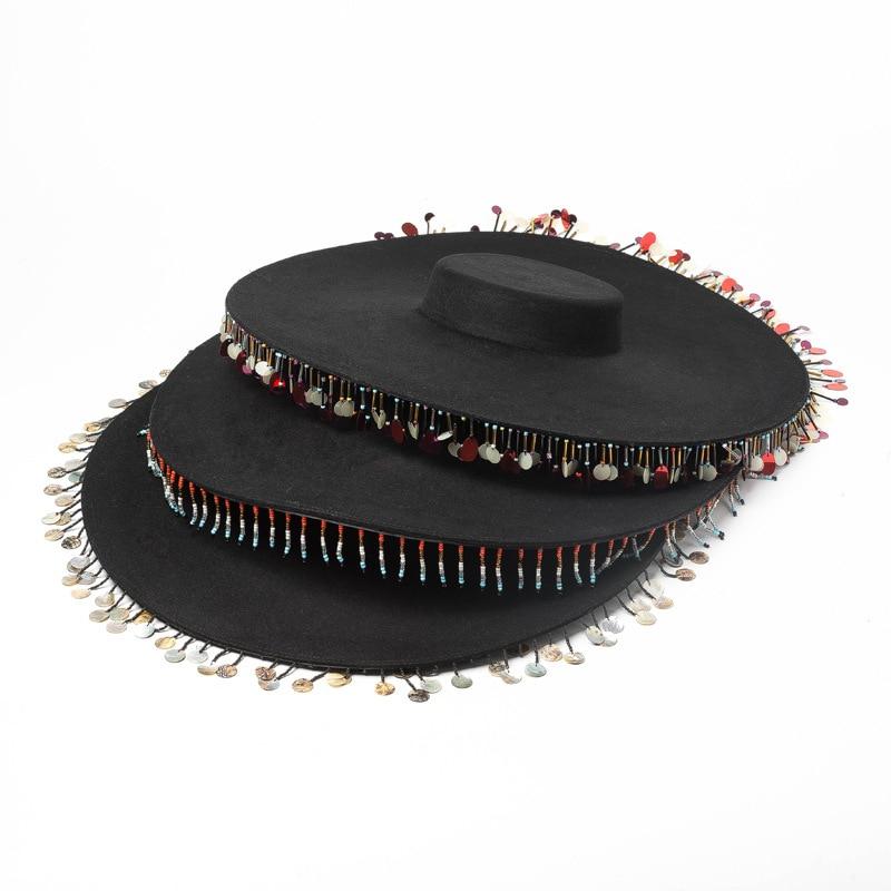 Fashion retro shallow flat hat brim chain shell beads tassels decorative woolen big brim fedoras hat
