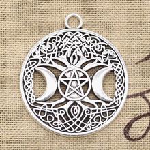 6 sztuk Charms księżyc gwiazda drzewo świata 39x34mm antyczne srebro kolor wisiorki DIYCrafts dokonywanie ustalenia Handmade tybetański biżuteria tanie tanio eunwol Słońce Księżyc i gwiazdy CN (pochodzenie) like photo Metal Ze stopu cynku TRENDY