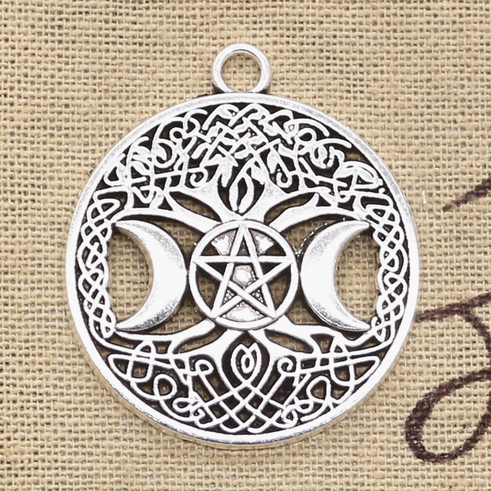 6pcs Charms Moon Star World Tree 39x34mm Antique Silver Color Pendants DIYCrafts Making Findings Handmade Tibetan Jewelry