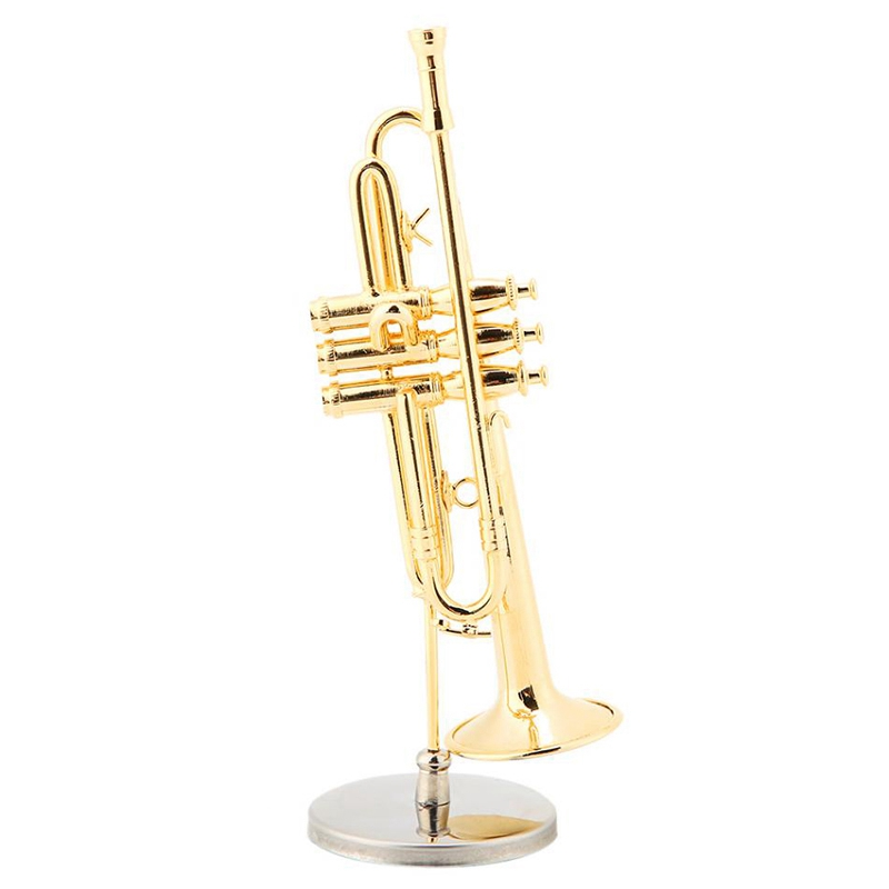 Miniature Trumpet Replica  Gold-Plated Musical Instrument Model with Stand and Case title=