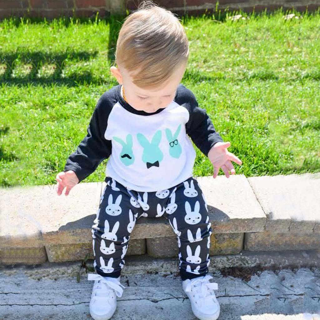 อีสเตอร์ชุดเด็กทารกเด็กทารกหญิงเสื้อกระต่ายอีสเตอร์การ์ตูนกางเกงชุดเสื้อผ้า Enfant เด็กผู้ชาย vêtements # guahao