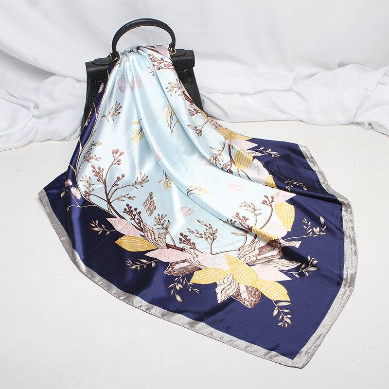 Новинка 2021, модный Шелковый квадратный шарф для женщин, 90*90 см, шейный платок, повязка для волос, мягкий шейный платок, хиджаб, головной плато...