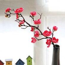 # S yumai Kurze Rote Pflaume Blossom Zweig Künstliche Silk Gefälschte Blume Plum Blossom Floral Hochzeit Bouquet Party Decor Tabelle decor