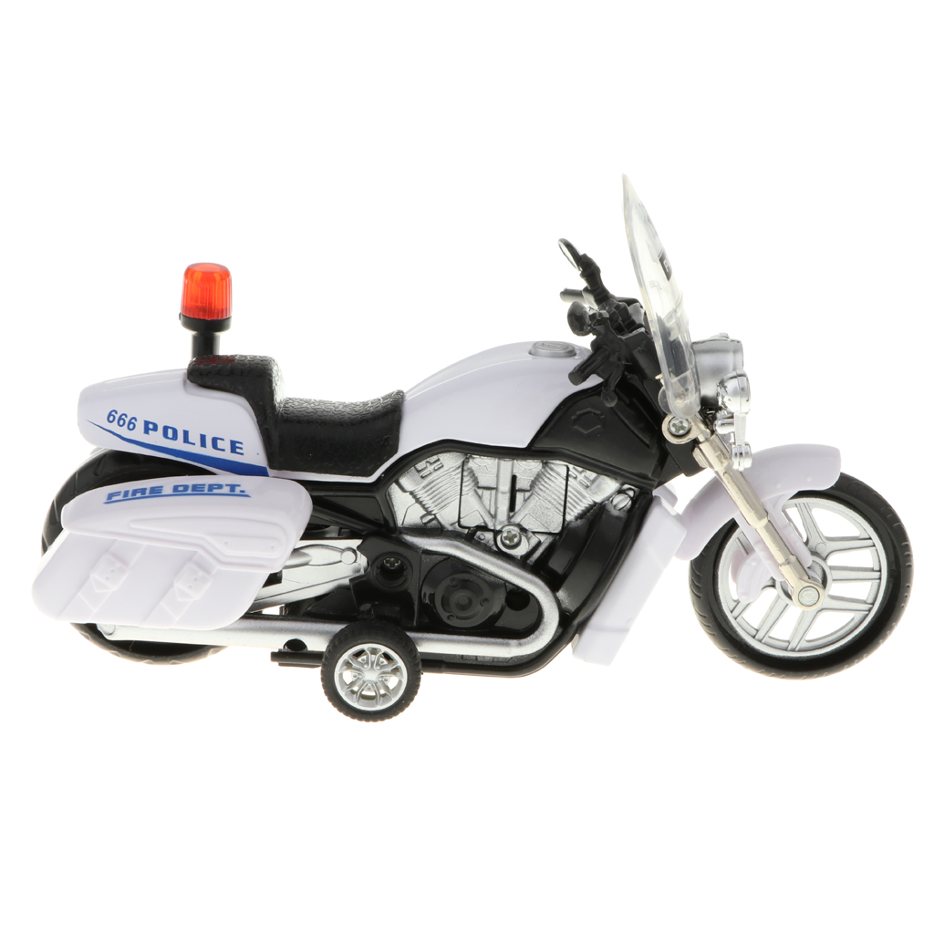 Diecast Alloy Pull Back Patrol Motorcycle Model Kids Children Toy 1:64 Scale