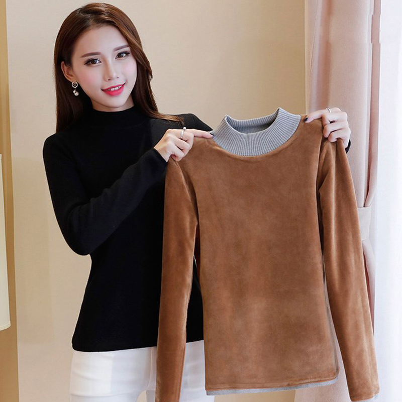 Women Sweaters And Pullovers Autumn Winter Plus Velvet Thickening Slim Femme Elasticity Pullovers Female Casual Knitted Sweater in Pullovers from Women 39 s Clothing