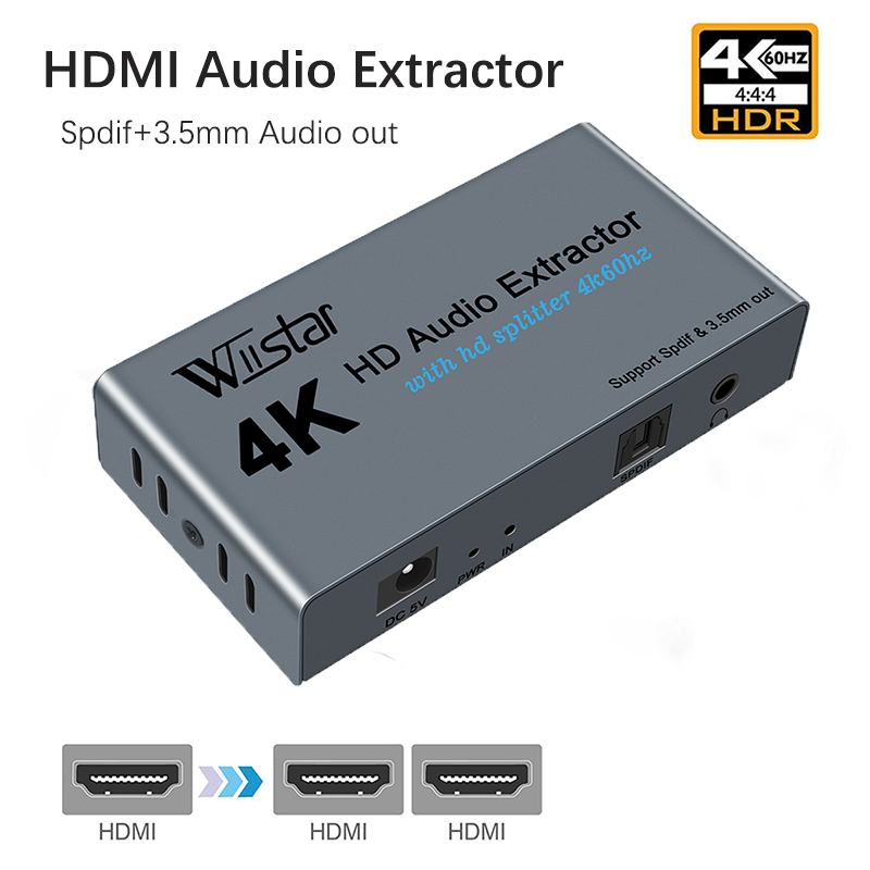 Wiistar HDMI Audio Extractor Splitter HDMI to 2 HDMI Spliiter 4K60Hz HDMI to HDMI Optica SPDIF   3 5mm HDMI Audio Sppliter