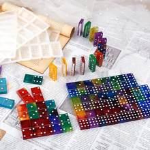 2ピース/セットdiyパイガオドミノ樹脂モールドクリスタルuvエポキシシリコーン型ホームボタンミラー効果樹脂クラフト