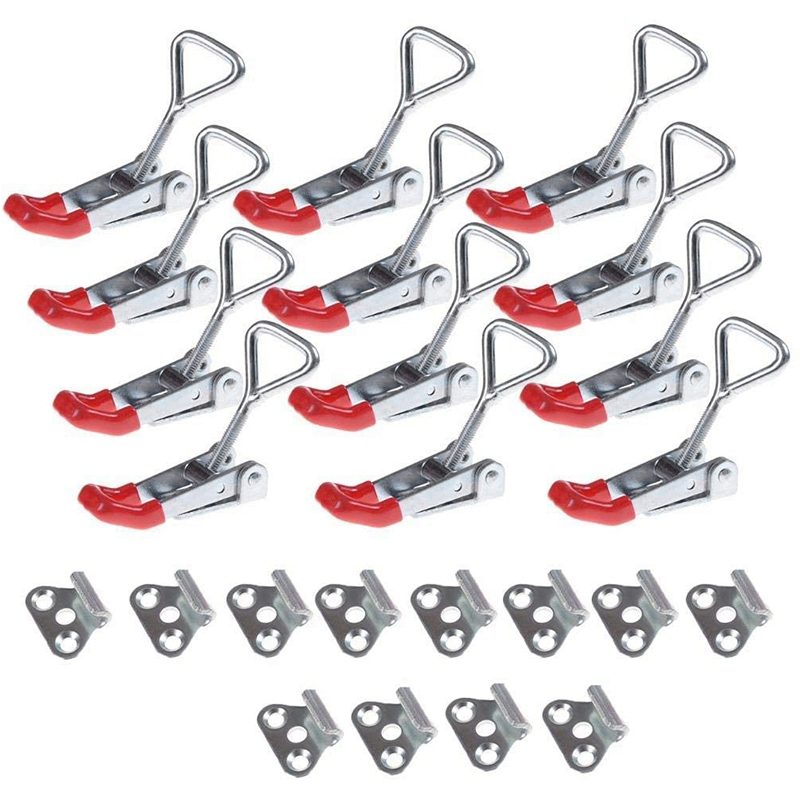 12 Pcs Adjustable Toggle Clamp,Heavy Duty 4001 Style Latch Hasp Clamp For Door,Box Case Trunk,Quick Release Pull Latch