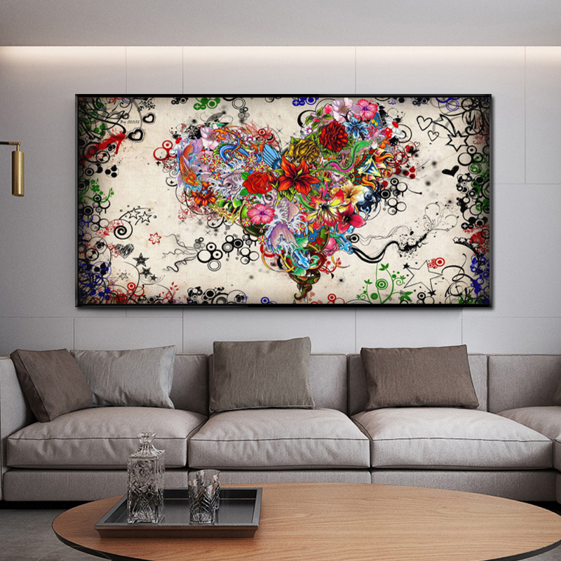 Modern Canvas Painting Abstract Colorful Heart Flowers Posters and Prints Wall Art Pictures for Living Room Cuadros Home Decor image