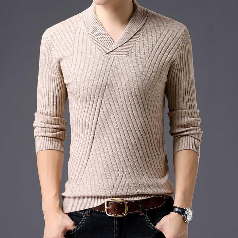 2020 nowa marka modowa sweter dla mężczyzn swetry V Neck Slim Fit swetry dzianina jesień koreański styl Casual męskie ubrania