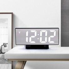 Multifuncional Digital Alarm Clock LED Mirror Clock Snooze Display Time Night LCD Light Table Desktop Despertador