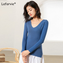 Lafarvie Knitted V-neck Sweater Women Tops Autumn Winter Full Sleeve Pullover Female Slim Fit tight Shirt  Jumper Pull 6 Colors