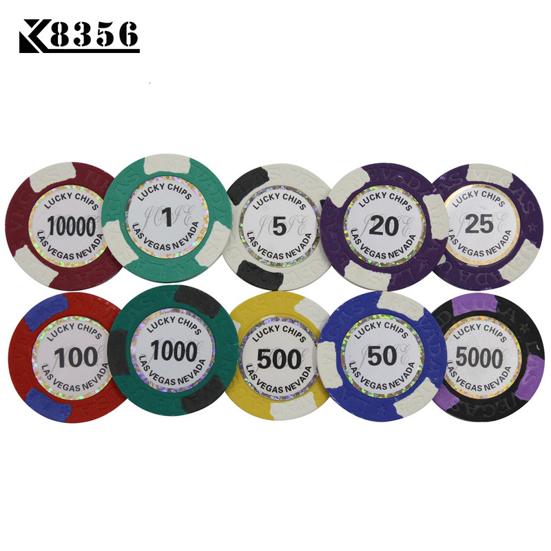 K8356 25PCS/Lot 14g Double Color <font><b>LasVegas</b></font> Clay Film Chips Texas Hold'em Clay Chip Poker Playing Card Chips Mahjong Baccarat Coin image