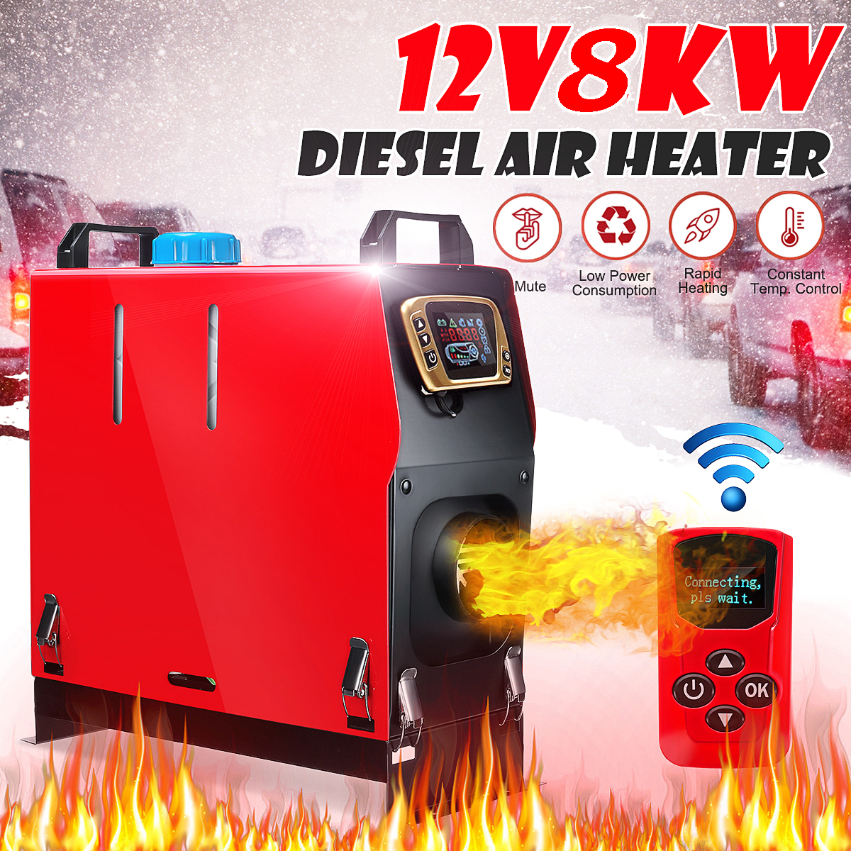All In One Diesel Air Heater 12V 8KW Car Air Conditioner Digital LCD Monitor Remote Control Car Heater Defrost Diesel Air Heater