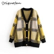Miguofuofan Women Sweater Plaid Autumn Winter cardigan femme