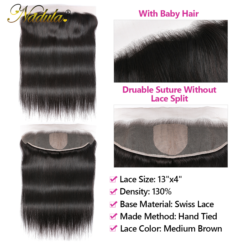13x4 Straight  Lace Frontal 28 30 inch Bundles With Frontal  Straight Hair Bundles With Closure Nadula Hair 3