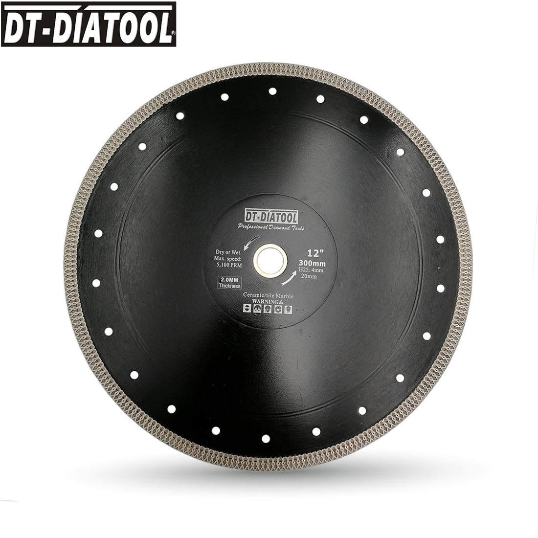 DT-DIATOOL 1pc Dia 300mm/12inch Hot-pressed High Quality Diamond Saw Blade X Mesh Turbo Cutting Disc Tile Marble Porcelain Blade