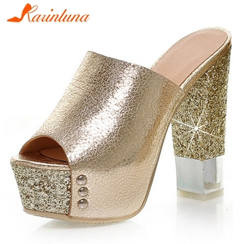 KARINLUNA Ladies Fashion Metallic Bling Mules Shoes Women High Block Heels Platform Summer Woman