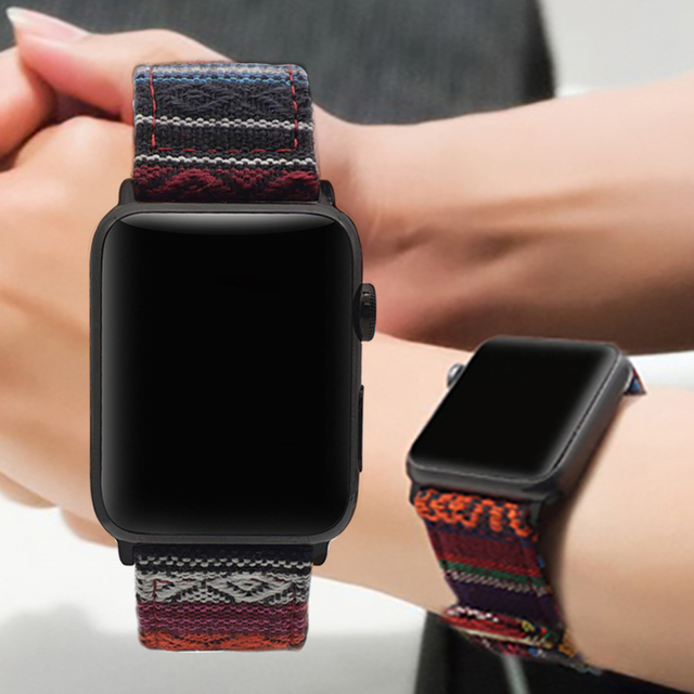 National Wind Fabric Strap For Apple Watch band 38mm 40mm iWatch 4 Band 42mm 44mm
