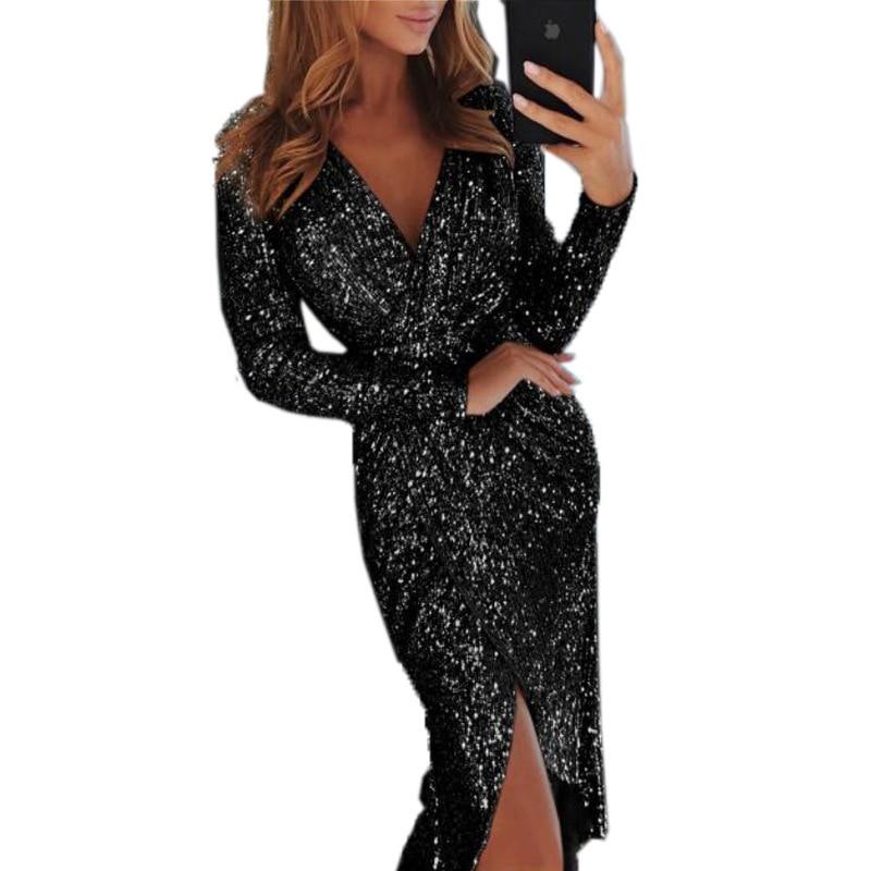 Hot Women Clothes Bodycon Dresses New Ladies Bronzing Long-sleeved V-neck Bright Sparkling Vestidos Dinner Sexy Dress TL34