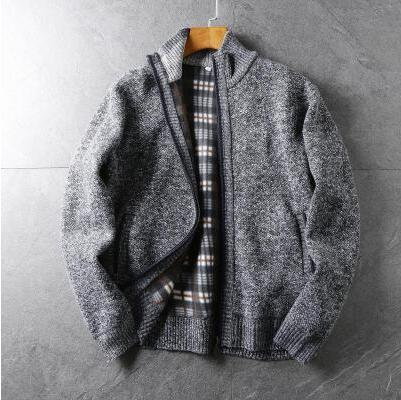 Good Quality! Autumn And Winter Men's Solid Color Knit Sweater Stand Neck Zipper Cardigen Sweater Korean Youth Men Coat Tb3852