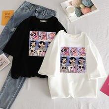 Модная футболка с японским аниме принтом оверсайз женские топы