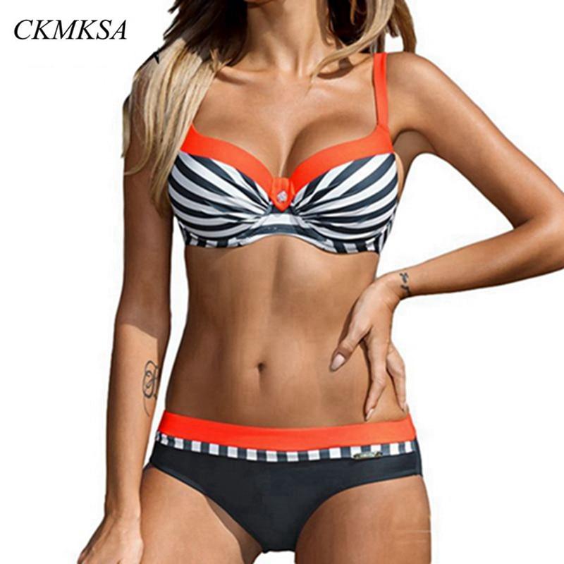 Swimsuit Striped Bikini 2019 Plus Size Swimwear Women Retro Two Piece Swimsuit Tankini Push Up Bathing Suit Beach Wear Biquini