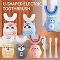 Электрическая зубная щетка для детей, силиконовая автоматическая ультразвуковая зубная щетка, Детская умная зубная щетка с мультяшным рис...