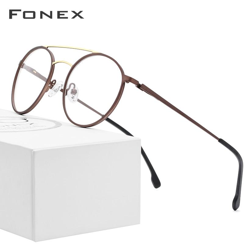 FONEX Alloy Optical Glasses Frame Men Ultralight Vintage Round Prescription Eyeglasses Women Retro Myopia Screwless Eyewear 7055