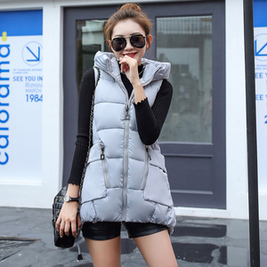 Image 3 - Winter Down Cotton Vest Women Red Gray Green Camouflage Hoodie Feather Waistcoat Long Paragraph Slim Warm Jacket colete feminino
