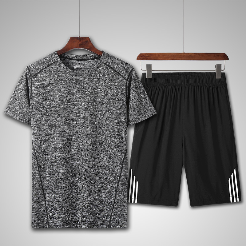 2019 Summer New Style MEN'S Suit Korean-style Casual Comfortable Crew Neck Short Set Outdoor Running Exercise Sports Clothing