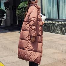 Rubilove Fashion women 2019 New Arrival Solid Slim Long Size For Womens Cotton Down Parka With Hooded Winter Jacket