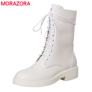 MORAZORA 2020 new arrive women brand boots med heels round toe genuine leather boots solid white leisure ankle boots
