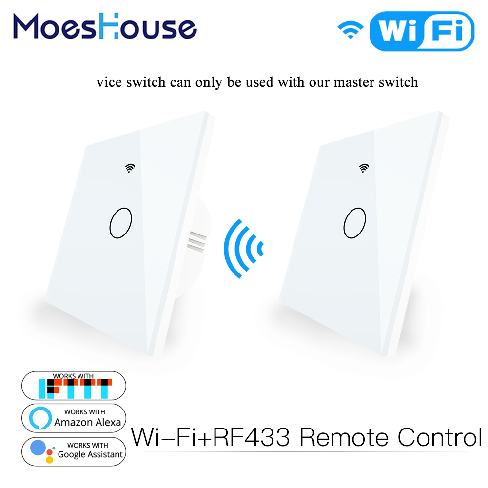 WiFi Smart Glass Panel Touch Switch RF433 Transmitter Wall Panel 1 2 3 Gang Remote Control Switch Works with Alexa Google Home
