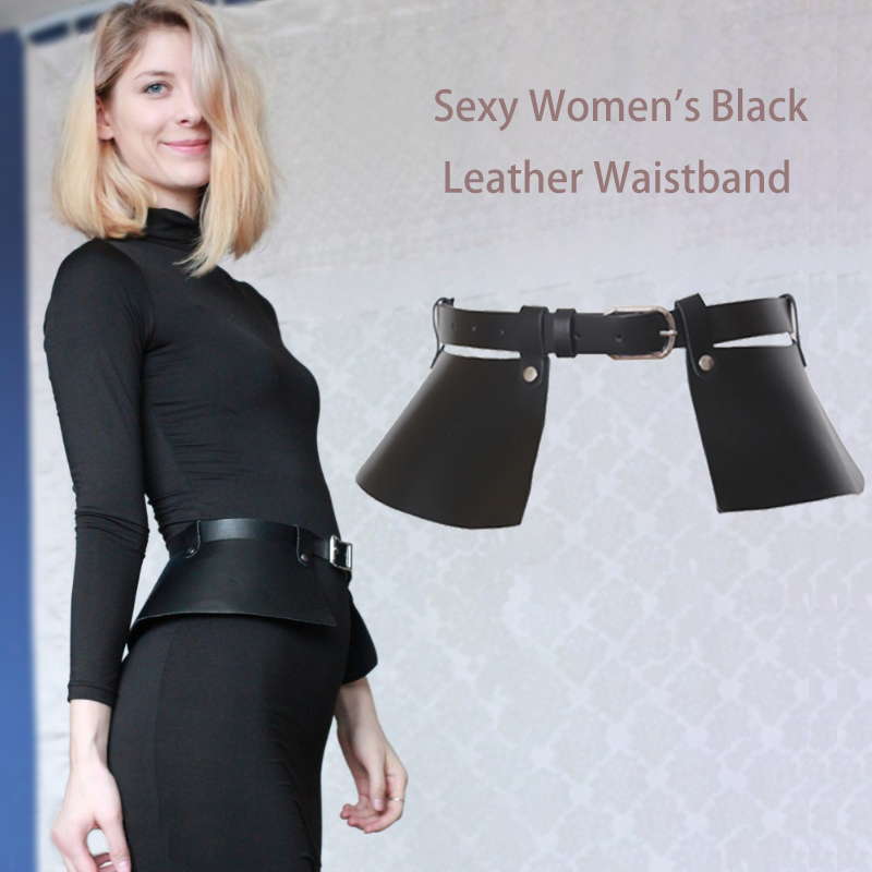 Sexy Women Black Leather Corset Belt For Dress 2 Way Use Movable Fringe Girdle Square Metal Pin Buckle Fashion Girl Strap Bg-008