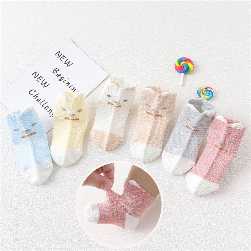 Summer New Style Cotton Socks 0-1-Year-Old Baby Socks Korean-style Cartoon Newborn Mesh Baby Tou Qi Wa Children