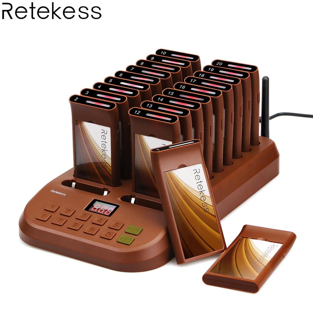 Retekess T116 ワイヤレスページングキューイングシステムレストランポケットベル 1 トランスミッタ + 20 コースターポケベル有償レストラン機器  グループ上の パソコン & オフィス からの ポケベル の中 1