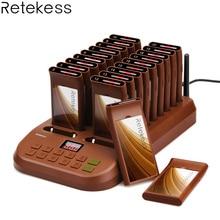 Retekess T116 kablosuz çağrı kuyruk sistemi restoran çağrı cihazı 1 verici + 20 Coaster çağrı cihazları şarj edilebilir restoran ekipmanları