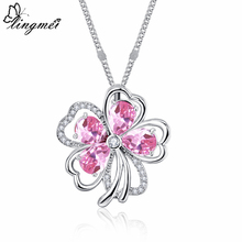 lingmei Wholesale Wedding Flower Fashion Cluster Pink White Red Zircon Silver 925 Pendant Necklace Chain Jewelry Birthstone