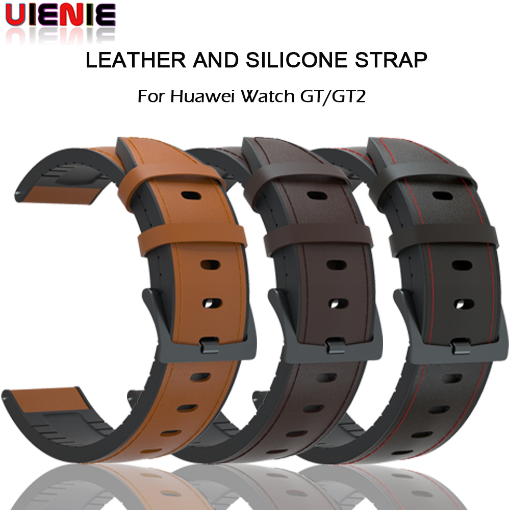 22mm Watch Strap For Huawei Watch GT 2 46mm Genuine Leather Silicone Watch Bands For Huawei Honor Watch Magic Bracelet