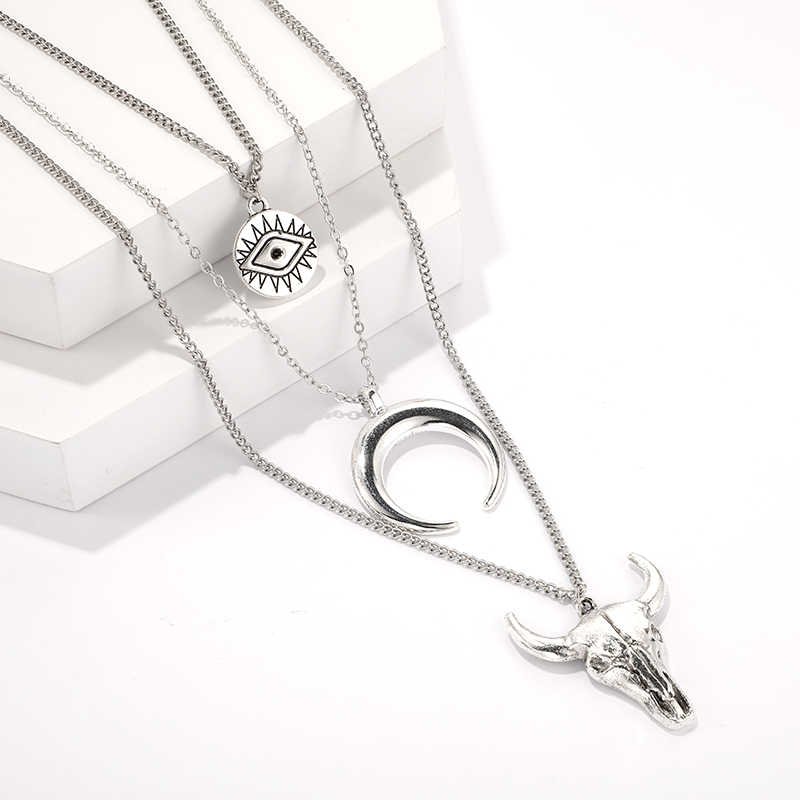 Docona colar vintage multicamada, colar vintage da cor prata, olho, lua, touro, cabeça, colar para mulheres, geométrico, camadas, colares c18107