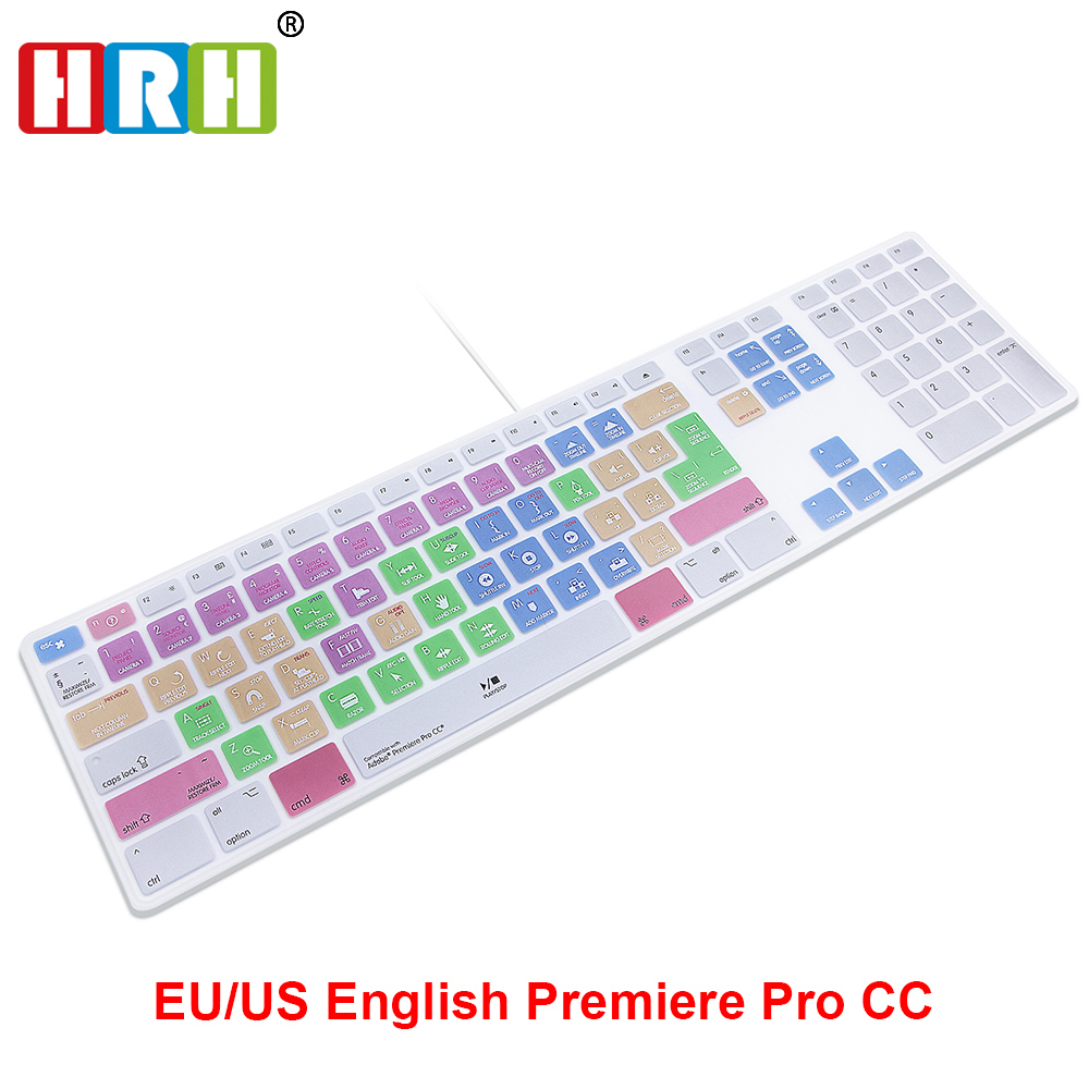 HRH Adobe Premiere Pro CC Hotkey Shortcut Keyboard Cover Skin For Apple Keyboard Numeric Keypad Wired USB For IMac G6 Desktop PC