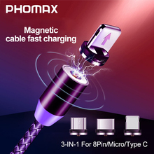 PHOMAX  Magnetic USB 3 in 1 Cable for iPhone Xs 8 & Type C Micro Nylon Braided Samsung Xiaomi Huawei