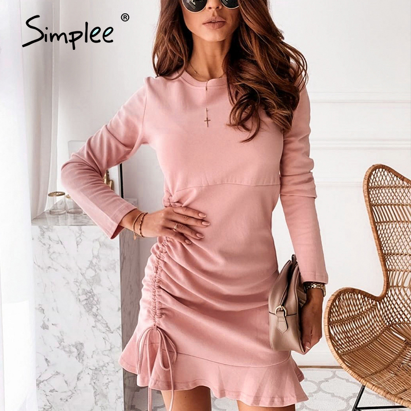 Simplee short solid pink winter 2020 dresses women lace up party sexy long sleeve dresses ruffles club ruched dress vestidos